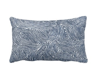 "OUTDOOR Sulcata Geo Throw Pillow/Cover, Navy & White 14 x 20"" Lumbar Pillows/Covers, Dark Blue Abstract Geometric/Lines/Waves Print/Pattern"