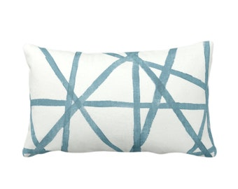 "OUTDOOR Hand-Painted Lines Throw Pillow or Cover, SEA/White 14 x 20"" Lumbar Pillows/Covers Dusty Aqua/Teal/Blue Stripes/Channels Print"