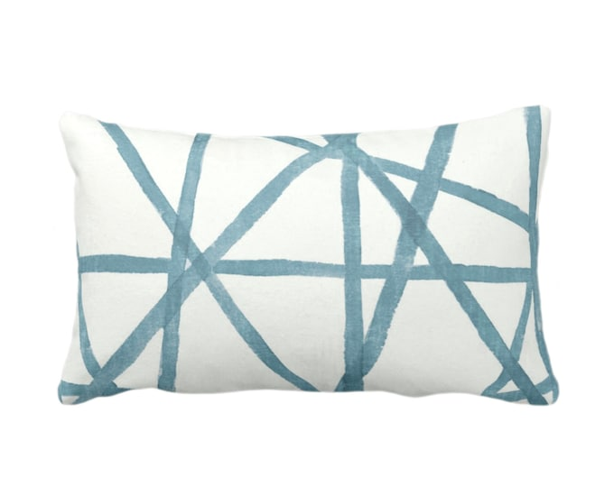 """OUTDOOR Hand-Painted Lines Throw Pillow or Cover, SEA/White 14 x 20"""" Lumbar Pillows/Covers Dusty Aqua/Teal/Blue Stripes/Channels Print"""