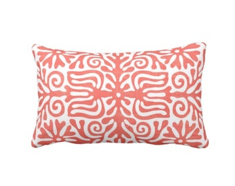 "OUTDOOR Folk Floral Throw Pillow or Cover, Coral/White 14 x 20"" Lumbar Pillows or Covers, Mexican/Boho/Bohemian/Tribal Print/Pattern"