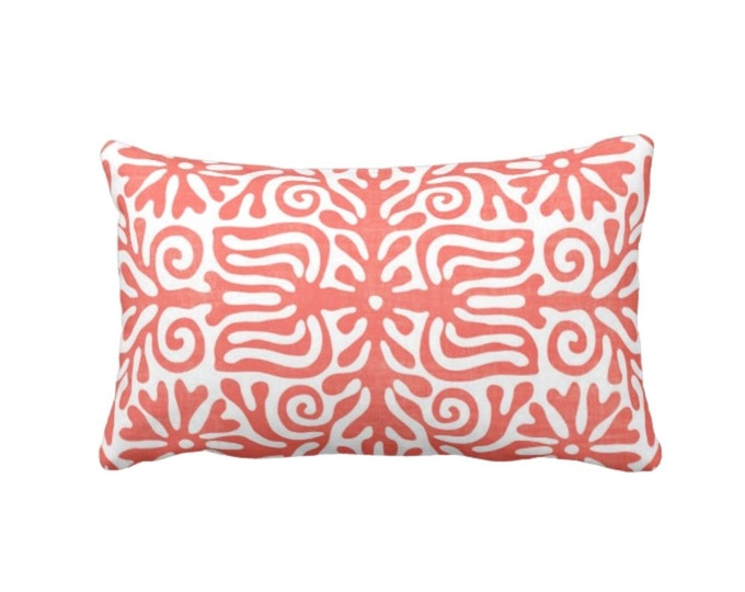 """Folk Floral Throw Pillow or Cover, Coral/White 14 x 20"""" Lumbar Pillows or Covers, Mexican/Boho/Bohemian/Tribal Print/Pattern"""