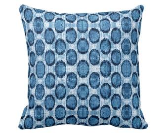 "OUTDOOR Ikat Ovals Print Throw Pillow/Cover 14, 16, 18, 20, 26"" Sq Pillows/Covers, Indigo Blue Geometric/Circles/Dots/Dot/Geo/Polka Pattern"