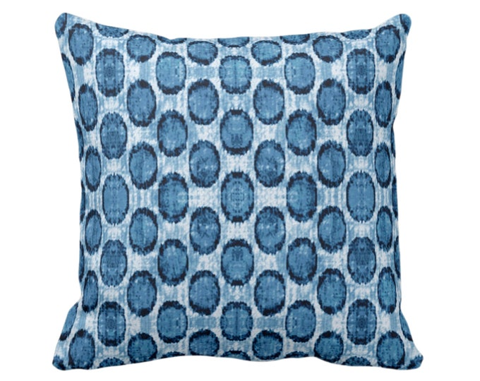 "OUTDOOR Ikat Ovals Print Throw Pillow/Cover 14, 16, 18, 20, 26"" Sq Pillows/Covers, Indigo Blue Geometric/Circles/Dots/Dot/Geo/Polka Pattern"
