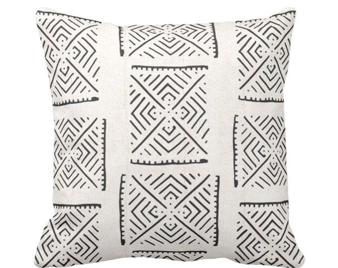 "OUTDOOR Mud Cloth Print Throw Pillow or Cover, Diamond Geo Off-White/Black 14, 16, 18, 20, 26"" Sq Pillows/Covers Mudcloth/Boho/Tribal/Design"