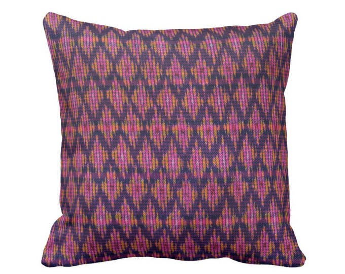 """Thai Ikat Printed Throw Pillow or Cover, Pink, Purple & Orange 14, 16, 18, 20 or 26"""" Square Pillows or Covers, Vintage Textile Print"""