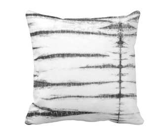 "Subtle Stripe Throw Pillow or Cover, Black, Gray & White Print 16, 18, 20 or 26"" Sq Printed Pillows or Covers, Shibori/Moroccan"