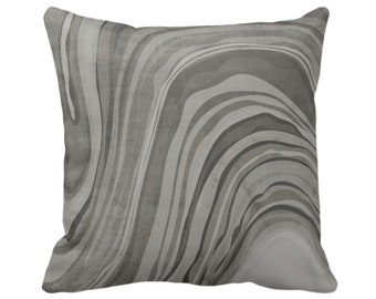 "OUTDOOR Marbled Throw Pillow/Cover, Shale 14, 16, 18, 20, 26"" Sq Pillows/Covers, Dark Gray/Grey/Taupe Abstract/Marble/Wavy Art Print/Pattern"