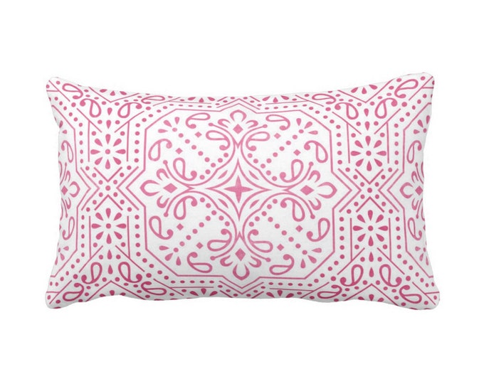 "OUTDOOR Tile Print Throw Pillow or Cover, Pink/White 14 x 20"" Lumbar Pillows or Covers, Fuchsia Geometric/Batik/Trellis/Lattice Pattern"