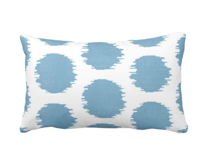 "OUTDOOR Ikat Dot Throw Pillow or Cover, Dusty Blue/White 14 x 20"" Lumbar Pillows/Covers Dots/Spots/Spot/Circles/Polka/Dotted Print/Pattern"