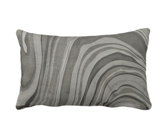 "OUTDOOR Marbled Throw Pillow/Cover, Shale 14 x 20"" Lumbar Pillows/Covers Dark Gray/Grey/Taupe Abstract/Waves/Marble Painted Print/Pattern"