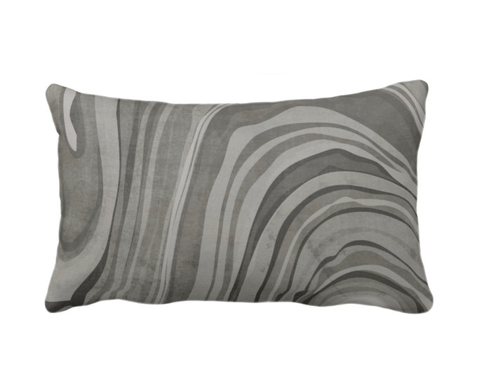 """OUTDOOR Marbled Throw Pillow/Cover, Shale 14 x 20"""" Lumbar Pillows/Covers Dark Gray/Grey/Taupe Abstract/Waves/Marble Painted Print/Pattern"""