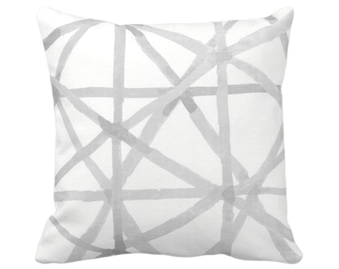 """OUTDOOR Painted Lines Throw Pillow or Cover, White/Smoke 16, 18, 20"""" Sq Pillows or Covers, Gray Modern/Lines/Starburst/Geometric/Geo Print"""
