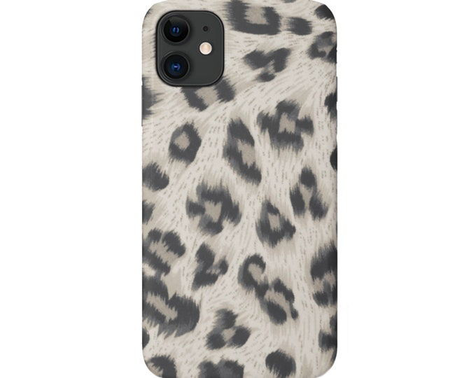 Taupe Leopard iPhone 11, XS, XR, X, 7/8, 6/6S Pro/Max/Plus/P Snap Case or TOUGH Protective Cover, Gray/Beige Animal Print/Pattern Galaxy lg