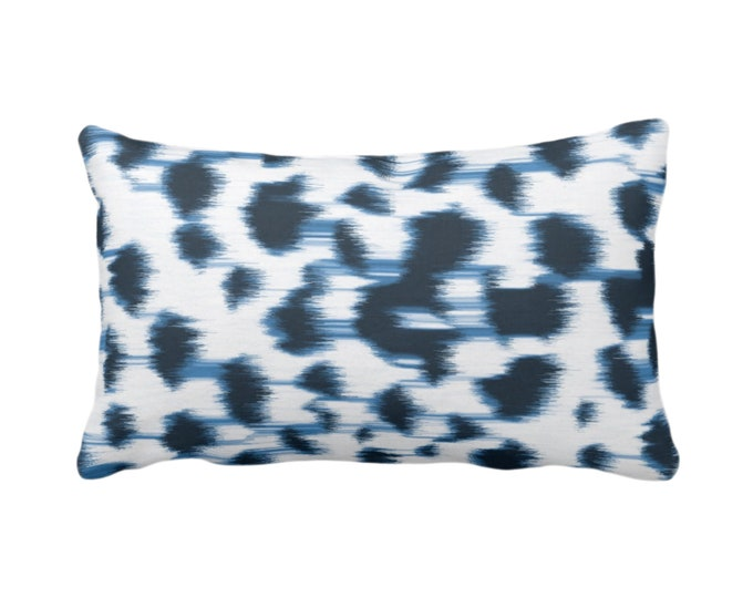 "OUTDOOR Ikat Abstract Animal Print Throw Pillow/Cover 14 x 20"" Lumbar Pillows/Covers, Indigo Blue/White Spots/Spotted/Dots/ Painted Pattern"