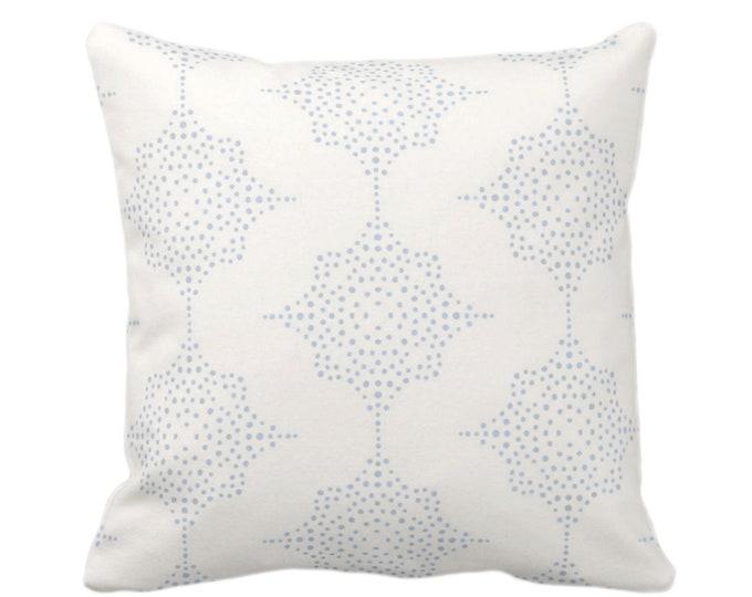 "OUTDOOR Block Print Stars Throw Pillow, Chambray & Ivory 16, 18 or 20"" Sq Pillows, Light Blue Geometric/Geo/Star/Blockprint Pattern"