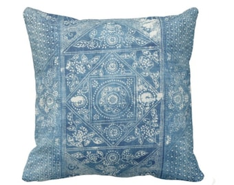"OUTDOOR Batik Printed Throw Pillow/Cover, Indigo 16, 18 or 20"" Square Pillows or Covers, Blue Vintage Chinese Textile Print"