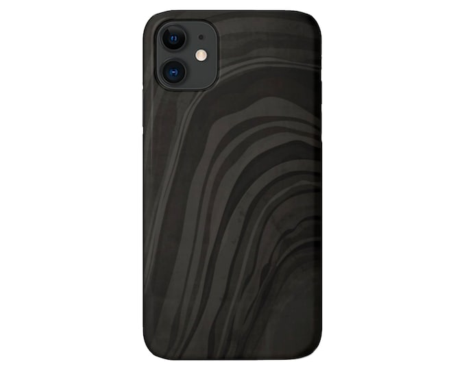 Black Abstract iPhone 11, XS, XR, X, 7/8, 6/6S, Pro/Max/P/Plus Snap Case or TOUGH Protective Cover, Minimal/Modern/Marble Print, Galaxy lg