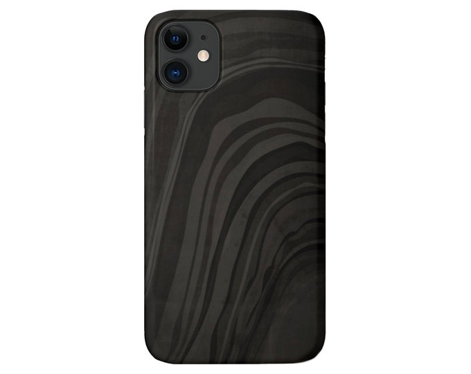 Marbled Black/Dark Gray iPhone 11, XS, XR, X, 7/8, 6/6S, Pro/Max/P/Plus Snap Case or TOUGH Protective Cover, Minimal/Abstract/Modern Print