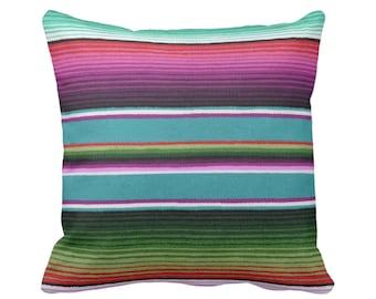 "OUTDOOR Serape Stripe Throw Pillow/Cover, Printed Mexican Blanket/Rug 14, 16, 18, 20"" Sq Pillows or Covers, Rainbow/Colorful/Stripes/Striped"