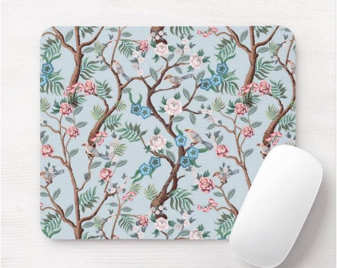 Peony Floral Mouse Pad/Mousepad, Floral Pattern, Light Blue, Pink, Green Birds/Bird Toile Flower/Naturalist/Botanical Illustration/Art Print