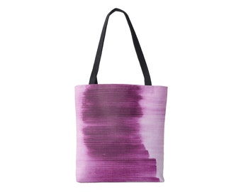 Ombre Stripe Market Tote, Bright/Deep Purple Striped Print Bag, Abstract/Modern Pattern/Design, Grape/Plum