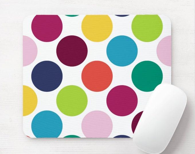 Big Dots in Color, Mouse Pad/Mousepad, Colorful Modern Abstract/Geometric Minimal Print/Pattern, Circles/Dot/Circle/Hand Painted/Drawn/Art
