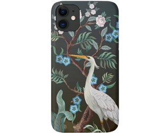 Crane Floral iPhone 12, 11, XS, XR, X, 7/8, 6/6S, Pro/Max/P/Plus Snap Case or Tough Protective Cover, Toile/Bird Nature Print/Pattern Galaxy