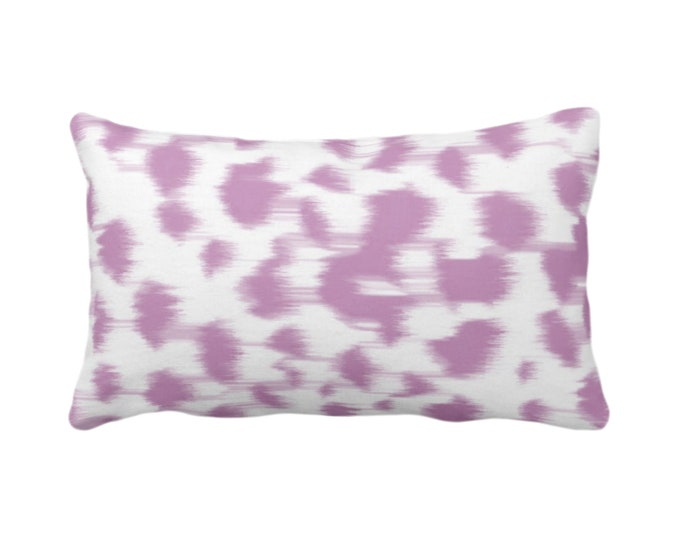 "Ikat Abstract Animal Print Throw Pillow/Cover 14 x 20"" Lumbar Pillows/Covers, Light Purple/White Spots/Spotted/Dots/Dot/Geo/Painted Pattern"
