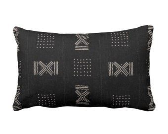"OUTDOOR Mud Cloth Throw Pillow or Cover, Double X & Dots Black/Off-White Print 14 x 20"" Lumbar Pillows/Covers, Mudcloth/Tribal/Geometric"