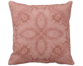 "OUTDOOR Nouveau Damask Throw Pillow/Cover, Terracotta 14, 16, 18, 20, 26"" Sq Pillows/Covers, Dusty Red Floral/Batik/Boho/Tribal Pattern"