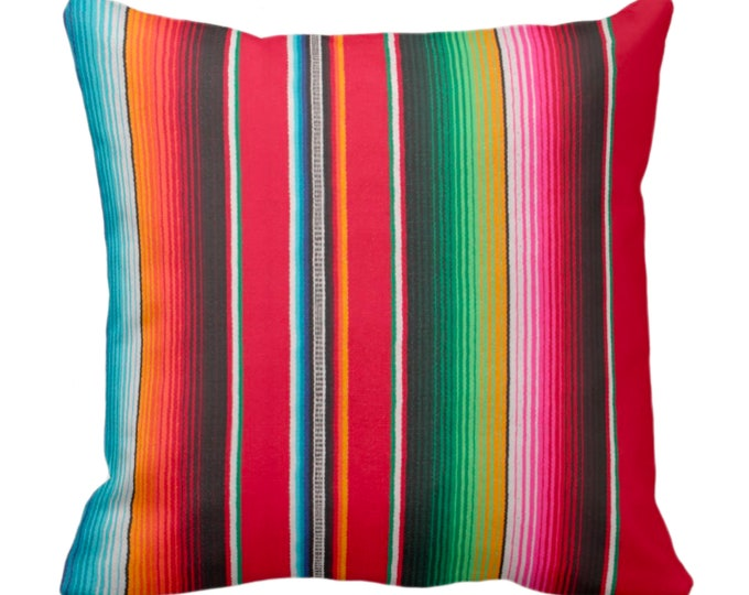 "OUTDOOR - SALE Serape Stripe Throw Pillow Cover, Printed Mexican Blanket/Rug 18"" Sq Pillow Covers, Rainbow/Colorful/Stripes/Striped"
