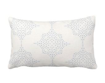 "Block Print Stars Throw Pillow or Cover, Chambray & Ivory 14 x 20"" Lumbar Pillows, Covers, Light Blue Blockprint/Geometric/Boho/Star Pattern"