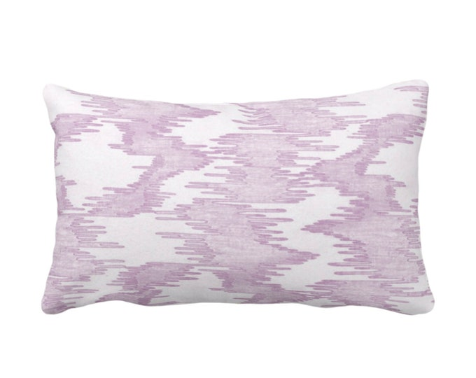 "Ikat Print Throw Pillow or Cover, Purple/White 14 x 20"" Lumbar Pillows/Covers Painted, Abstract/Modern/Lines/Geo/Ikat/Water Stripe Pattern"