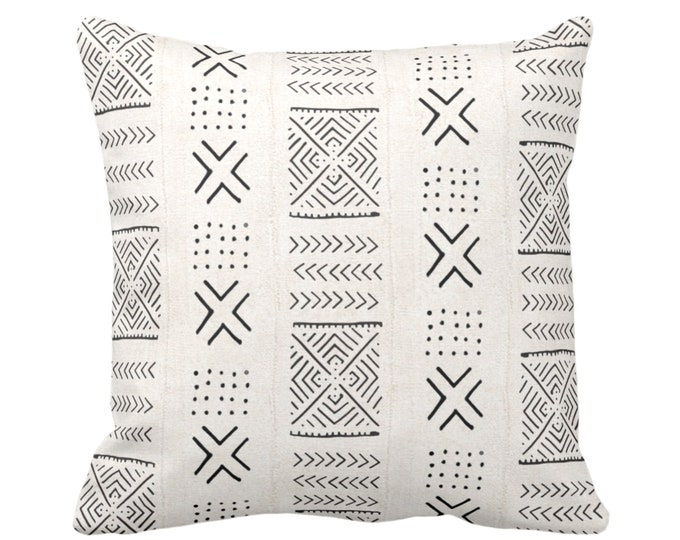 """OUTDOOR Mud Cloth Print Throw Pillow or Cover, Diamond, X & Dots Off-White/Black 16, 18 or 20"""" Sq Pillows/Covers, Mudcloth/Boho/Tribal/Geo"""