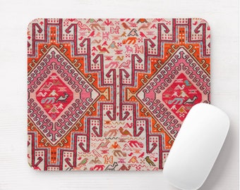 Kilim Print Mouse Pad/Mousepad, Nature/Animal in Coral, Red and Orange, Southwest Rug Tribal Colorful Design
