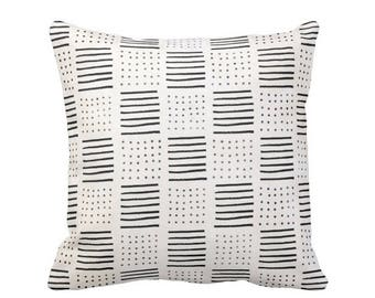 """Mud Cloth Print Throw Pillow or Cover, Lines/Dots Off-White/Black 16, 18, 20, 26"""" Sq Pillows or Covers, Mudcloth/Geo/Boho/Tribal"""