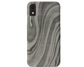 Marbled iPhone 11, XS, XR, X, 7/8, 6/6S, Pro/Max/P/Plus Snap Case or TOUGH Protective Cover, Taupe/Gray/Grey Marble/Abstract/Modern Print