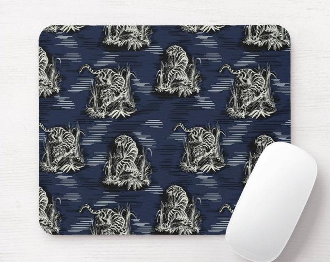 Tiger Toile Mouse Pad, Animal Print Mousepad, Dark Blue/Black Cat/Tigers Pattern, Modern Wallpaper/Chinoiserie Design, Leopard/Cheetah