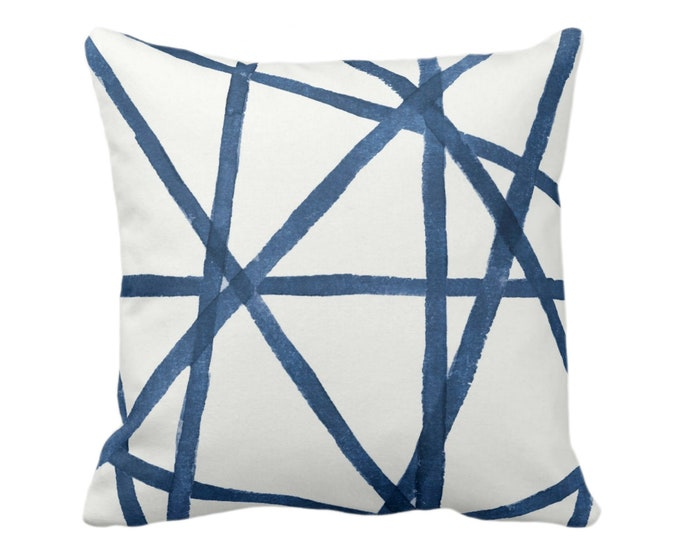 """OUTDOOR Hand-Painted Lines Throw Pillow or Cover, Navy/White 16, 18 or 20"""" Sq Pillows or Covers, Blue Channels/Stripes/Lines/Print"""