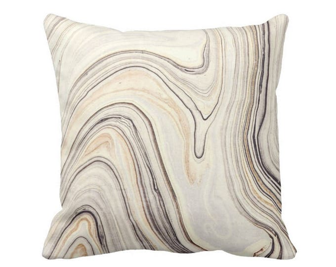 "OUTDOOR Marble Print Throw Pillow or Cover, Taupe/Beige 16, 18 or 20"" Sq Pillows or Covers, Gray Marbled/Abstract/Modern/Wave/Swirl"