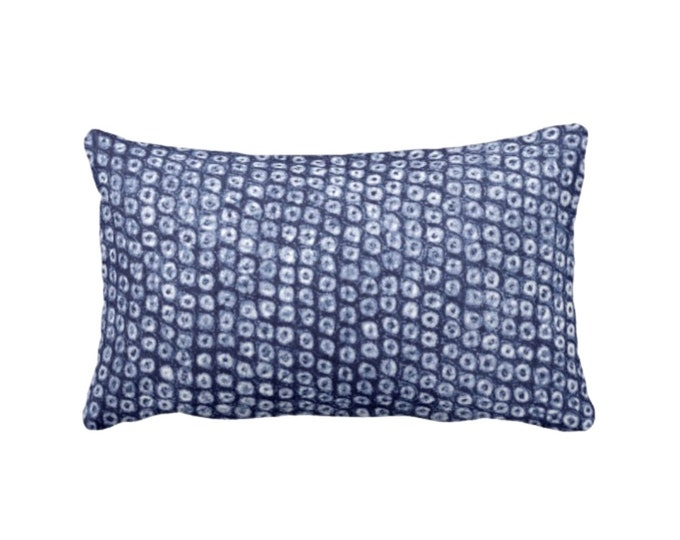 "READY TO SHIP Batik Print Indigo Throw Pillow or Cover, 14 x 20"" Lumbar Pillows or Covers, Dots/Circles/Abstract/Boho/Tribal Design, Navy"