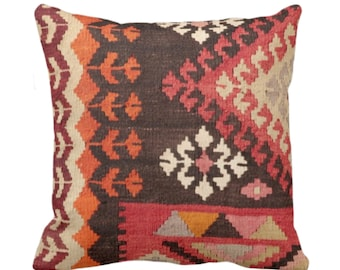 "OUTDOOR Turkish Rug Print Throw Pillow/Cover, Boho/Ethnic Geometric Pattern 16, 18 or 20"" Sq Pillows, Red/Orange/Pink Geometric/Tribal"