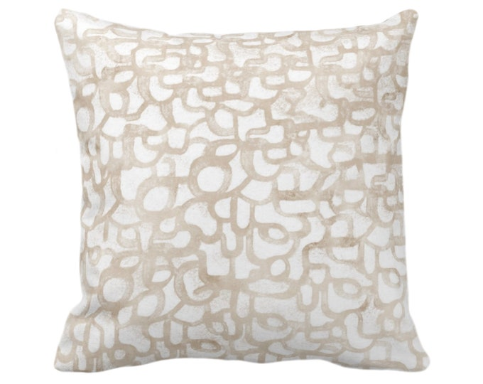 """OUTDOOR Abstract Curves Throw Pillow or Cover, Almond 14, 16, 18, 20, 26"""" Sq Pillows/Covers Light Beige Painted Modern/Geometric/Lines Print"""