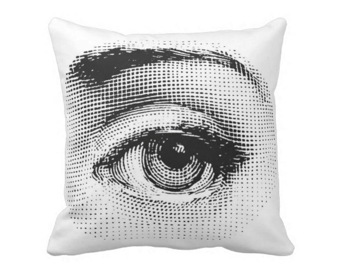 "Fornasetti Eye Throw Pillow or Cover, Black/White Print 16, 18, 20 or 26"" Sq Pillows or Covers, Modern/Eyes/Close-up/Graphic"