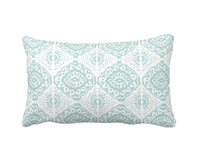 "OUTDOOR Block Print Medallion Throw Pillow or Cover, Turquoise/White 14 x 20"" Lumbar Pillows/Covers, Blue/Green Batik/Geo Pattern/Blockprint"
