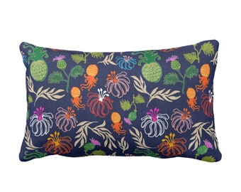 "OUTDOOR Colorful Japanese Floral Throw Pillow or Cover, 14 x 20"" Lumbar Pillows or Covers, Navy Blue Flowers/Jungalo/Boho/Tropical Print Red"