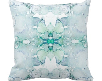 "Mirrored Watercolor Throw Pillow or Cover 14, 16, 18, 20, 26"" Sq Pillows/Covers Abstract Modern/Minimal Jade Green/Aqua Painted Print/Design"