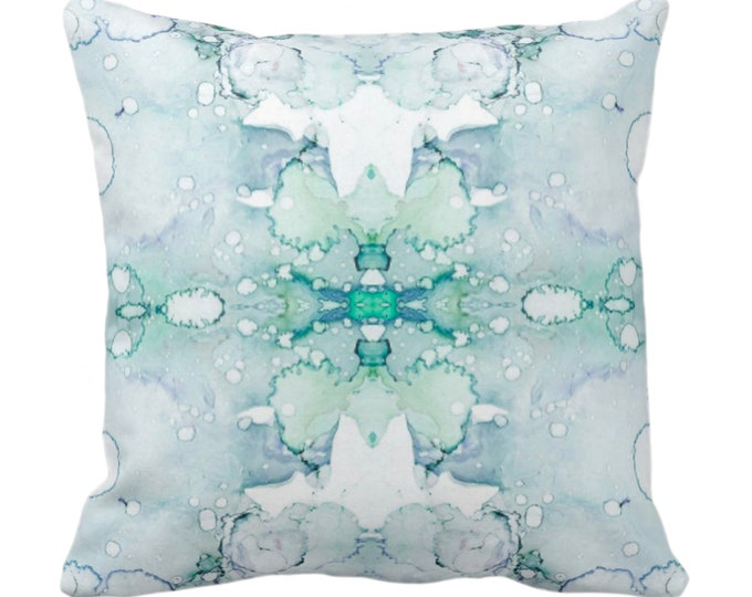 """Mirrored Watercolor Throw Pillow or Cover 14, 16, 18, 20, 26"""" Sq Pillows/Covers Abstract Modern/Minimal Jade Green/Aqua Painted Print/Design"""