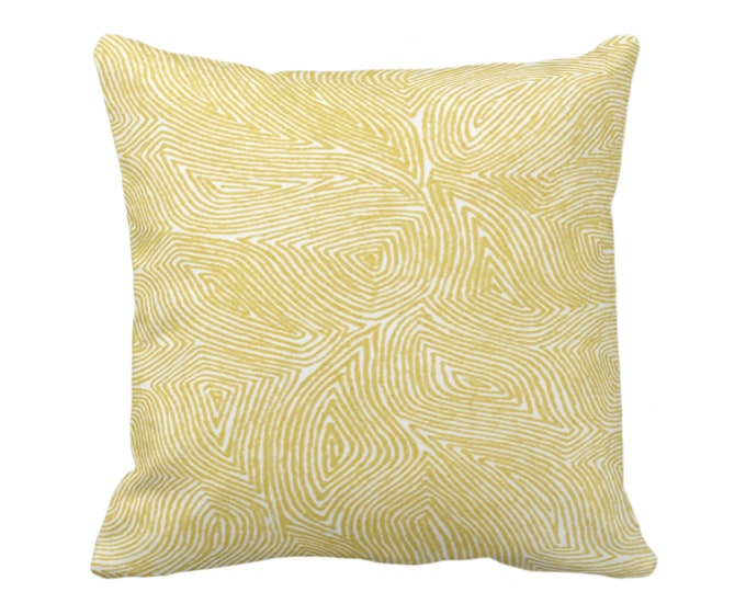 "SALE - READY 2 SHIP Sulcata Geo Throw Pillow Cover, Citron Yellow & White 14"" Sq Pillow Covers, Abstract Geometric/Tribal/Lines/Wavy Pattern"