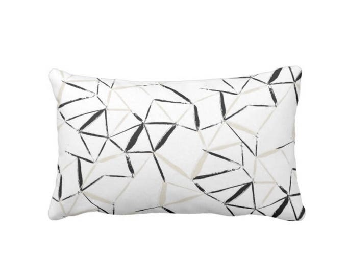 "Geometric Throw Pillow or Cover, Sand/Black/White 14 x 20"" Lumbar Pillows or Covers, Beige/Tan Sketch/Geo/Lines/Stripe/Art Print"